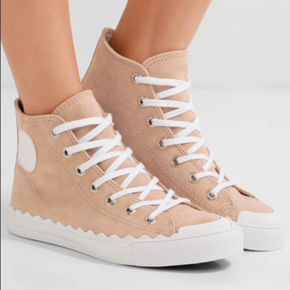 Suede With Trim Sneakers Chloe High Top Scalloped rCBdoeWQx